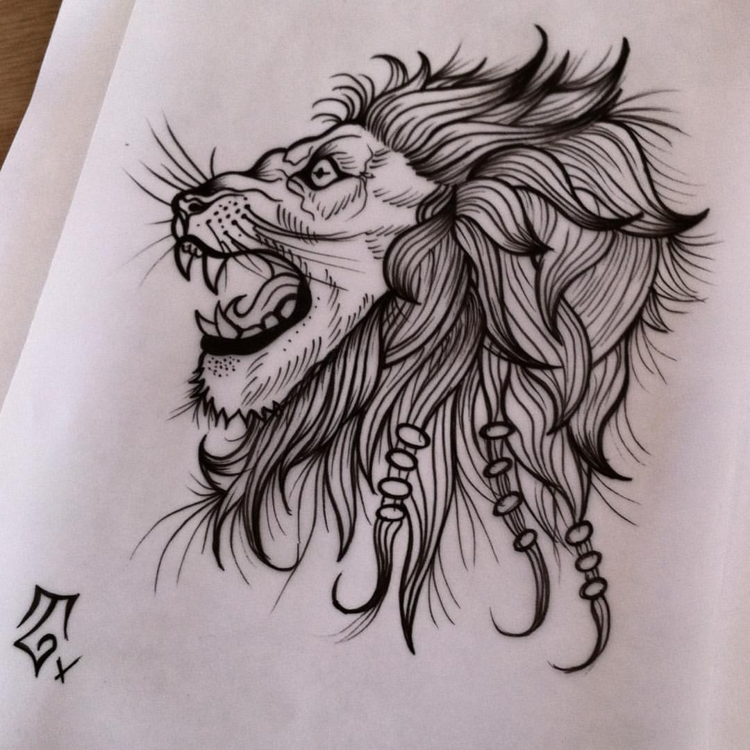 Cool uncolored roaring lion profile portrait tattoo design ... - photo#35