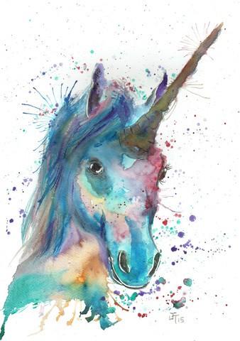 Cool watercolor unicorn head in splashes tattoo design