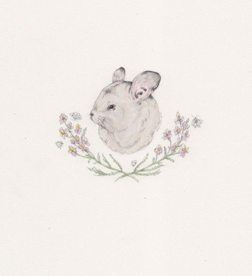 Cool white rodent head with crossed flowered branches tattoo design