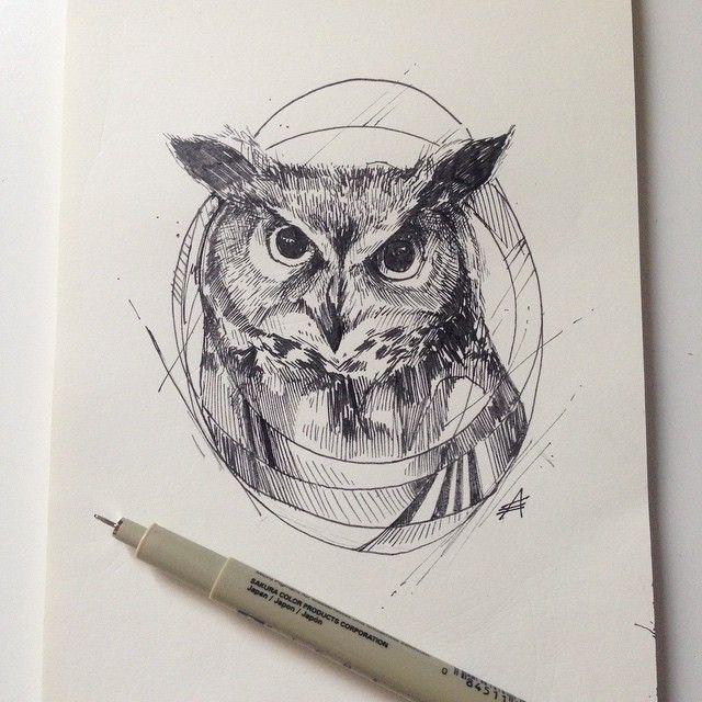 Cosmic grey-color owl portrait tattoo design