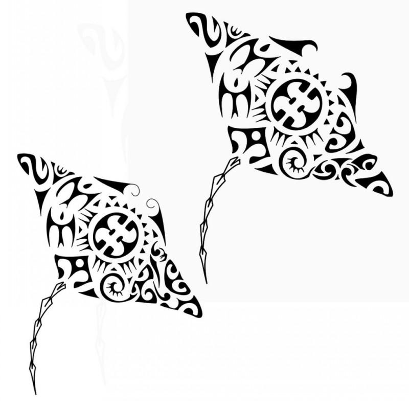 Coupled polynesian-style water animals tattoo design