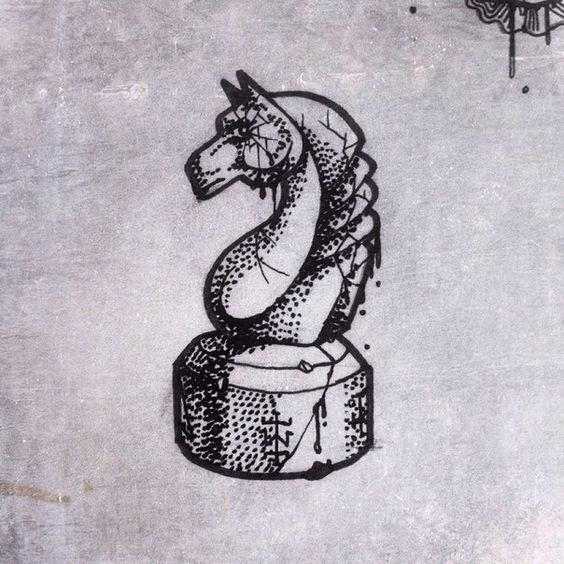 Crashed dotwork chess horse figure tattoo design