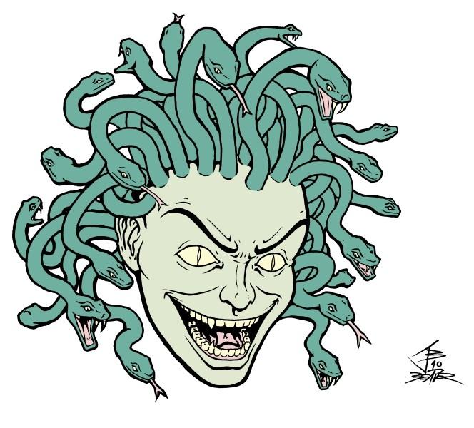 Crazy animated medusa gorgona head in green colors tattoo design