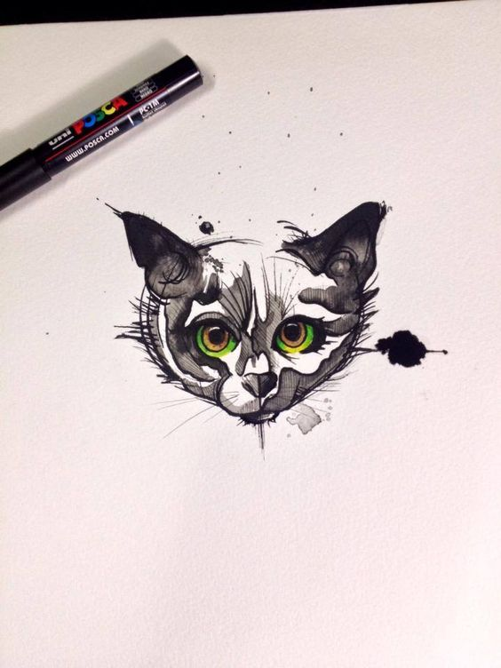 Crazy big green-eyed cat head tattoo design