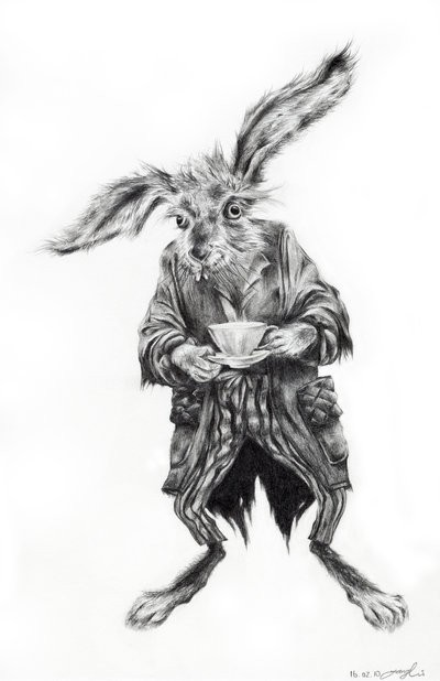 Crazy Black And White March Hare In Dressing Gown Tattoo