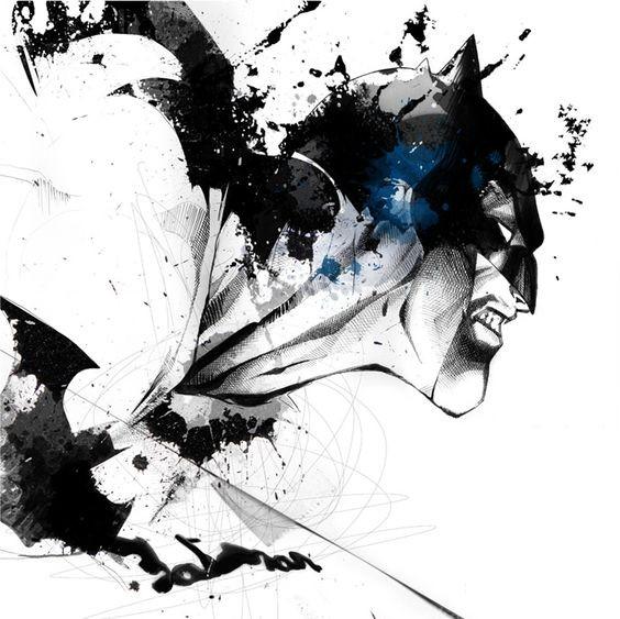 Crazy black-and-white watercolor batman rushing forward tattoo design