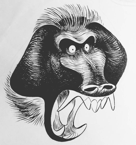 Crazy black-ink crying baboon with huge teeth tattoo design