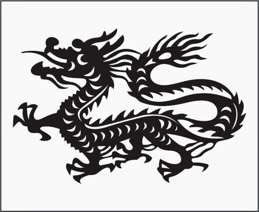 Crazy black-ink oriental walking dragon tattoo design