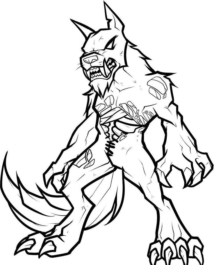Crazy black lineart werewolf zombie tattoo design