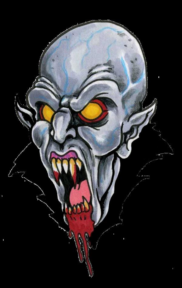 Crazy bold orange-eyed screaming vampire portrait tattoo design by Scottkaiser