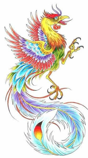 Crazy bright multicolor phoenix tattoo design