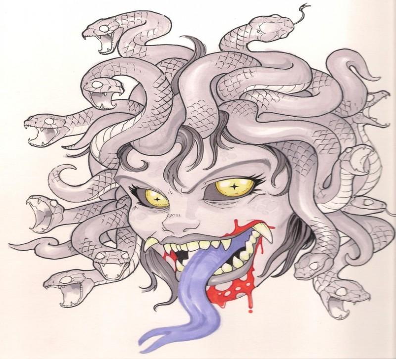 Crazy cartoon medusa gorgona with blue snake tongue tattoo design by Joe Bananaz
