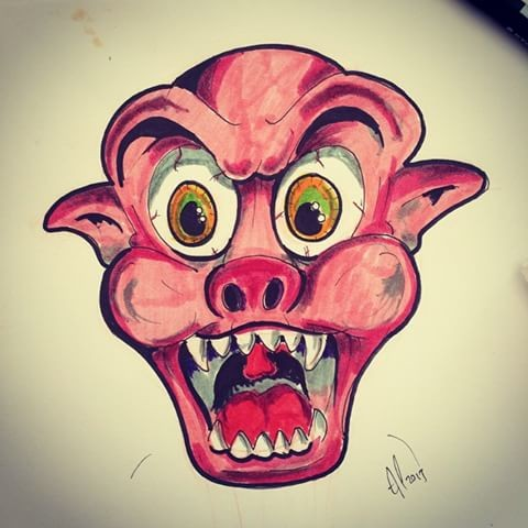 Crazy cartoon screaming pig muzzle tattoo design