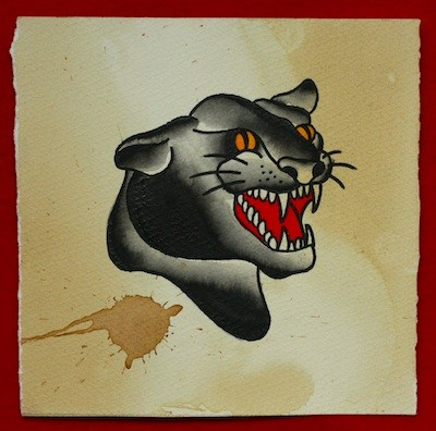 Crazy colorful old school panther head tattoo design