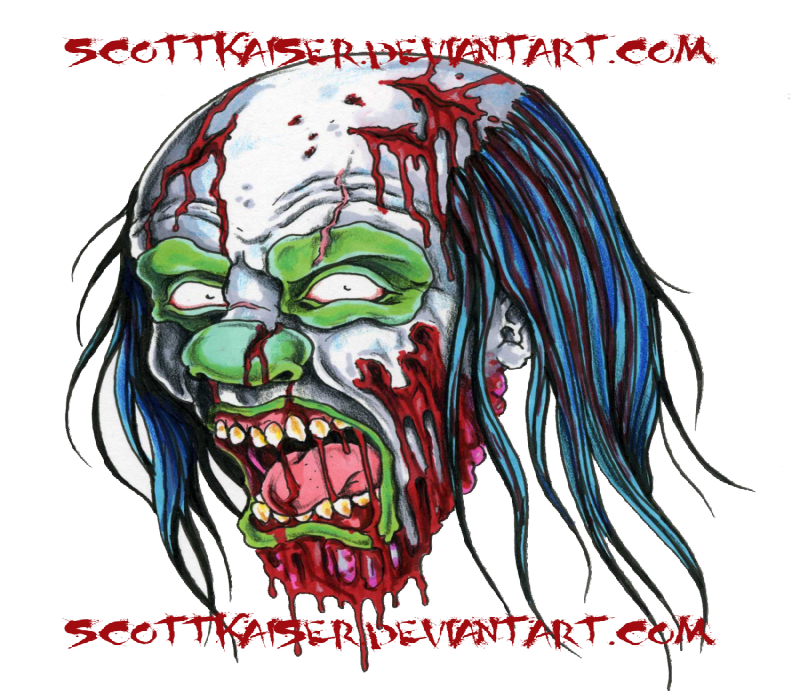 Crazy colorful screaming zombie with red letterings tattoo design
