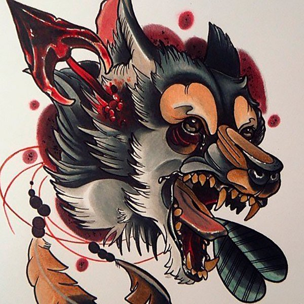 Crazy colorful wolf head pierced with blooded arrow tattoo design