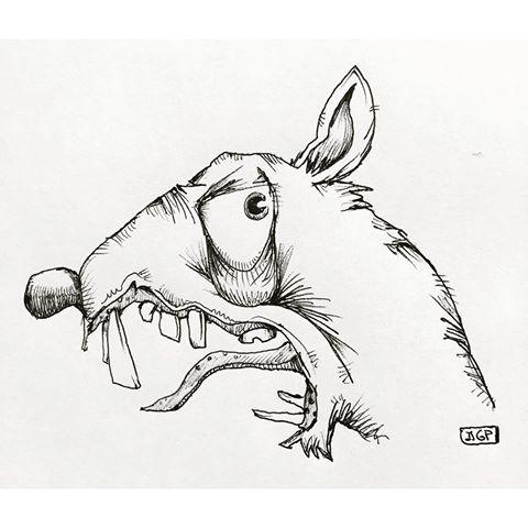 Crazy evil cartoon rodent head in profile tattoo design