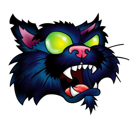 Crazy green-eyed screaming cat tattoo design