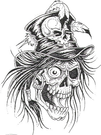 Crazy grey-ink death skull with a high hat tattoo design