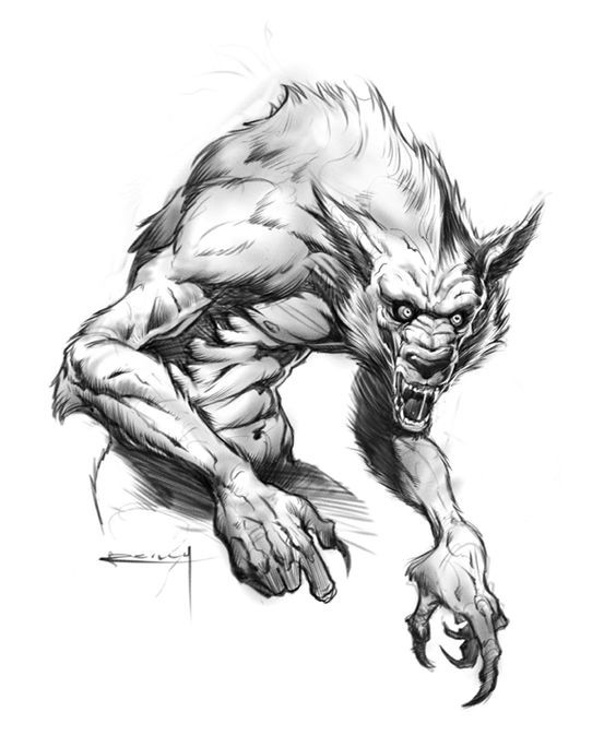 Crazy grey-ink muscular werewolf tattoo design