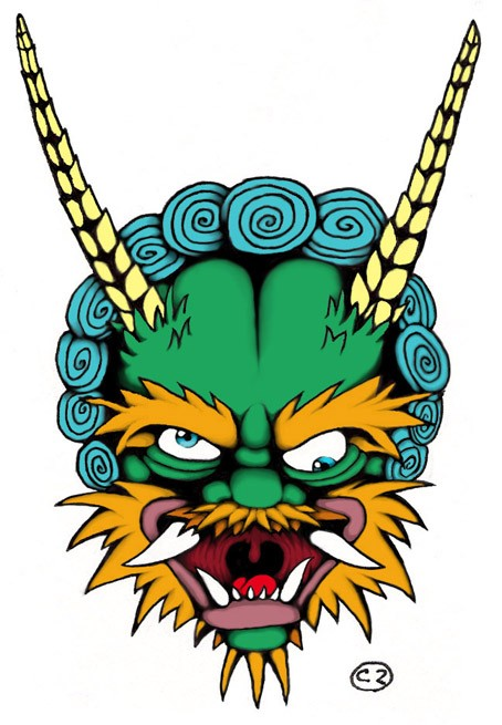 Crazy multicolor asian demon face with long horns tattoo design by Karnige
