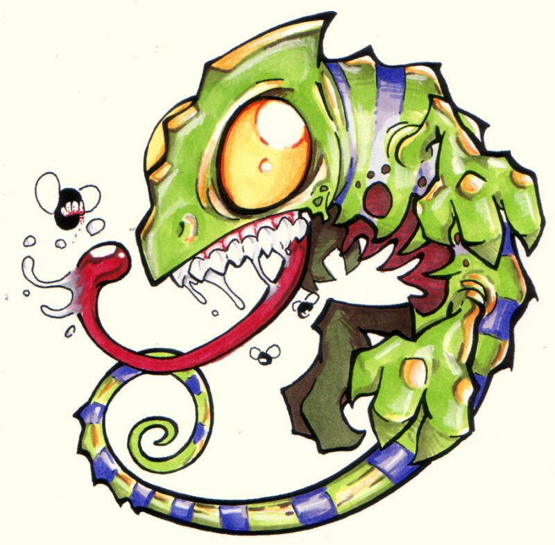 Chameleon Tattoo Designs Drawings: Crazy Multicolor Zombie Chameleon Tattoo Design By The