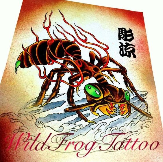 Crazy new school green-eyed ant with lettering tattoo design