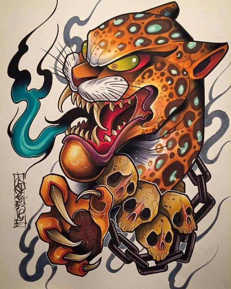 Crazy new school jaguar with skulls and chains breating with blue fire tattoo design