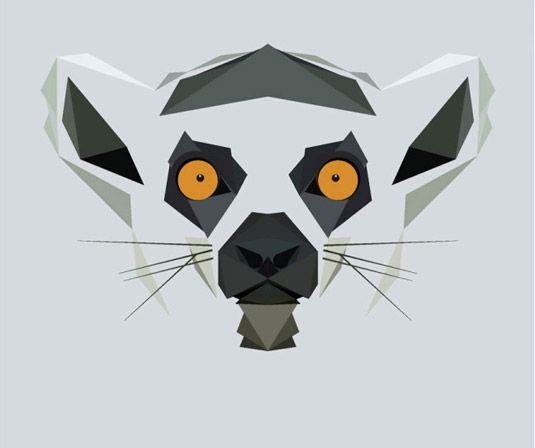 Crazy orange-eyed geometric lemur muzzle tattoo design