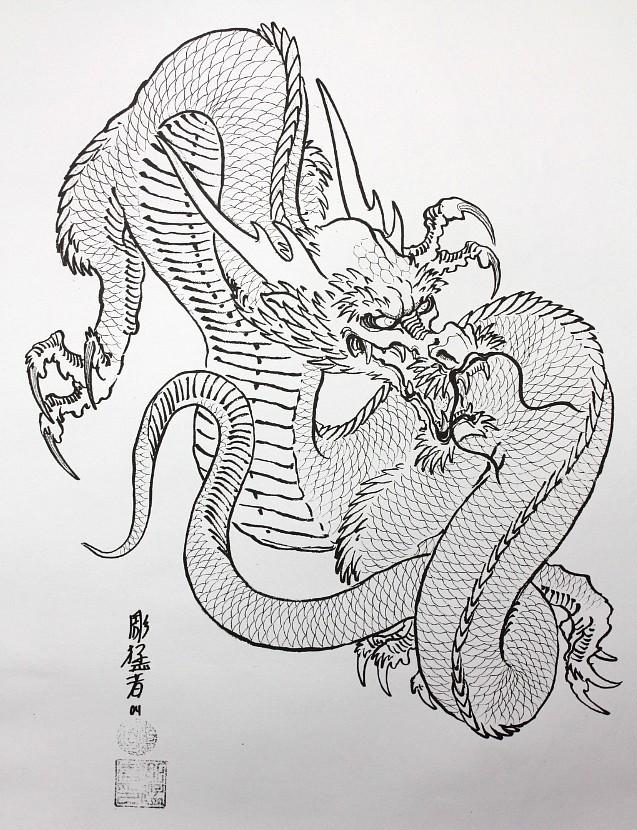 Crazy outline asian dragon tattoo design