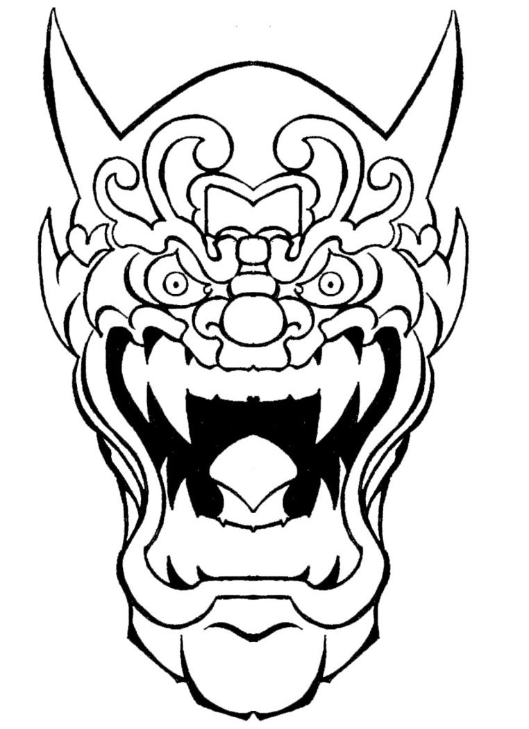 Crazy outline crying devil mask tattoo design