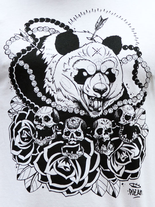 crazy roaring panda bear with skulls and roses tattoo design. Black Bedroom Furniture Sets. Home Design Ideas