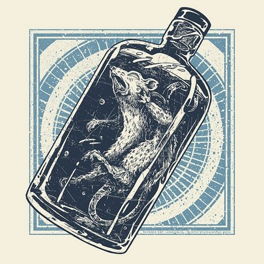 Crazy screaming rodent locked in bottle tattoo design