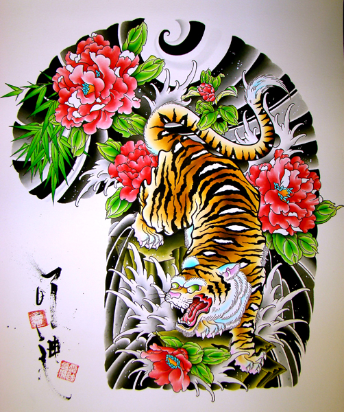 Crazy tiger with bright pink peony flowers in japanese style tattoo design