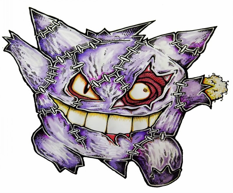 Crazy violet zombie pokemon tattoo design
