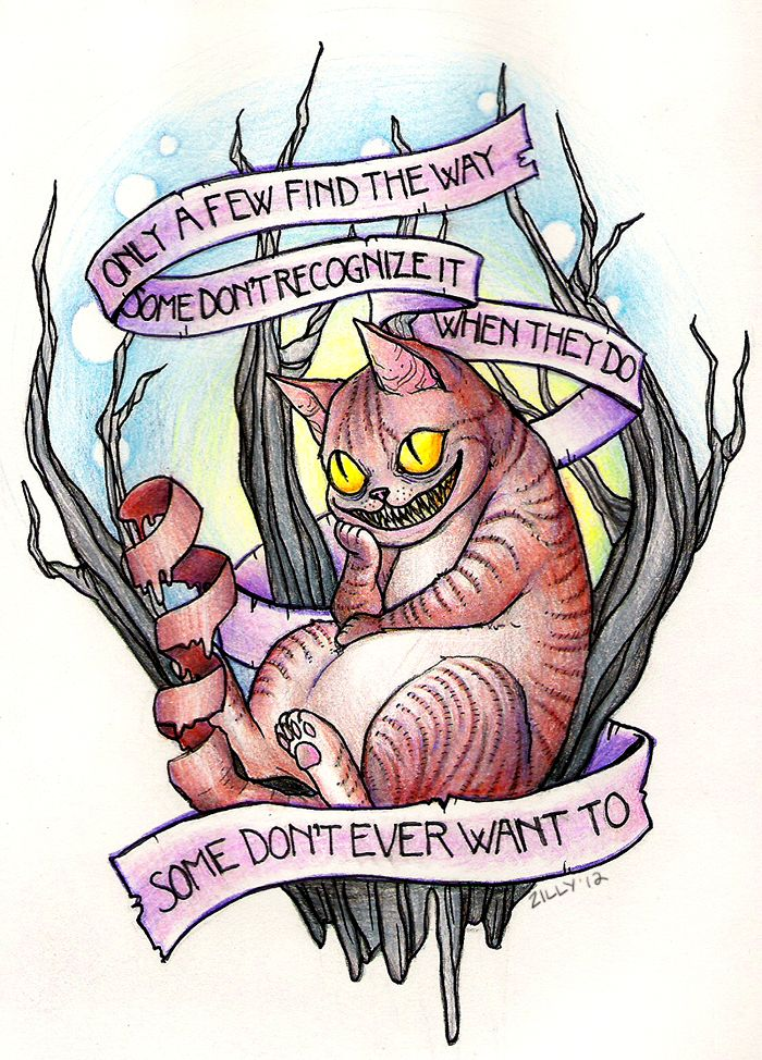 Crazy yellow-eyed cheshire cat and quoted stripe under the tree tattoo design
