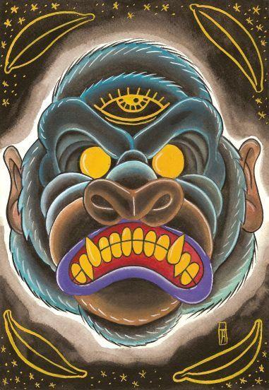 Crazy yellow-eyed gorilla head tattoo design