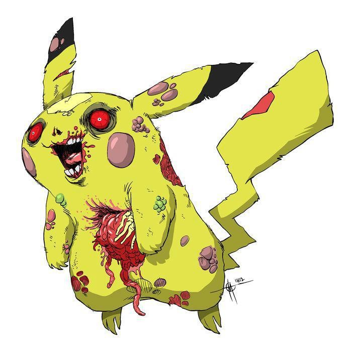 Crazy yellow zombie pikachu pokemon tattoo design