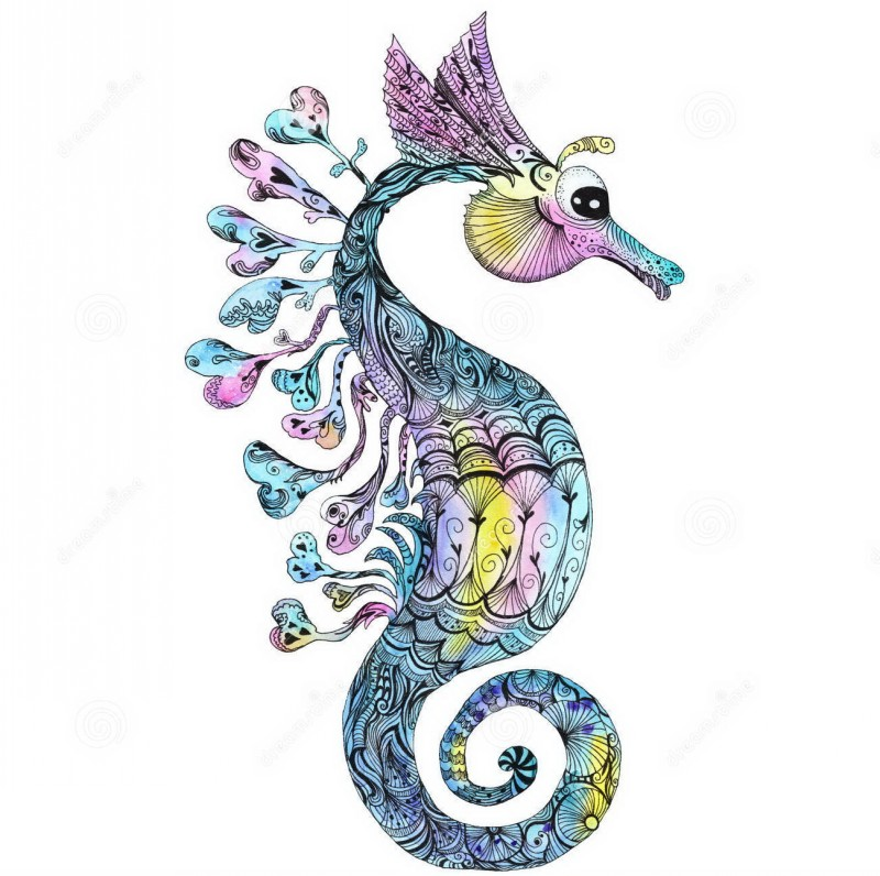 Creative colorful petterned seahorse with floral flippers tattoo design