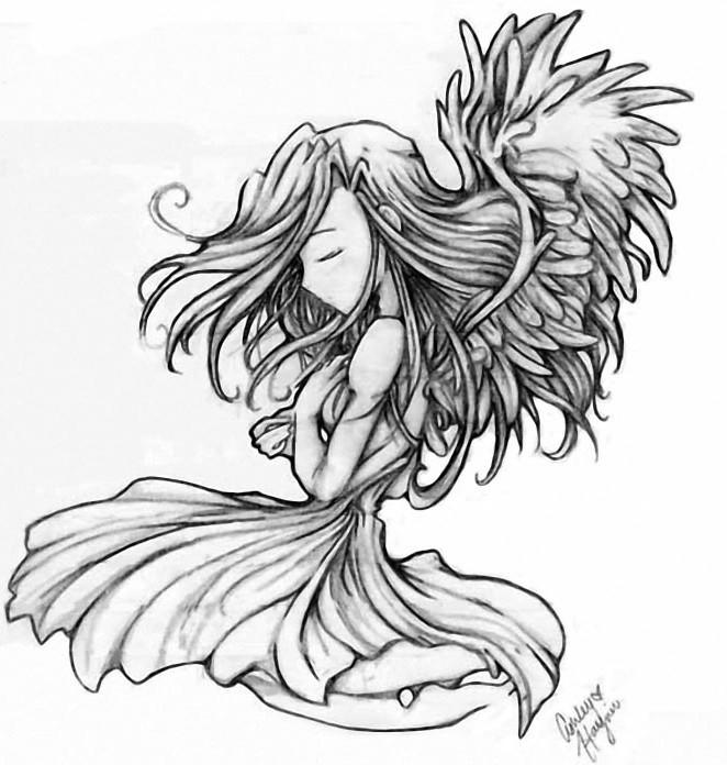Creepy animated angel praying on knees tattoo design