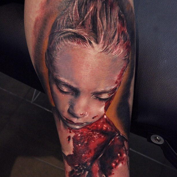 Creepy very detailed colored tattoo of bloody girl portrait