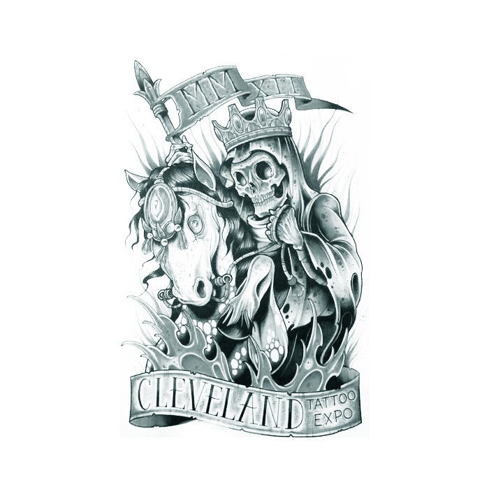 Crowned death king riding the horse with banners tattoo design