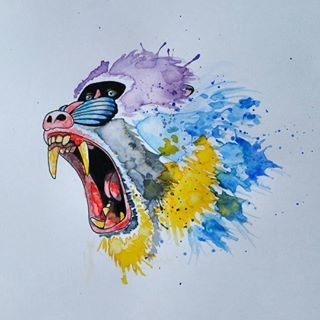 Crying bright watercolor baboon head tattoo design