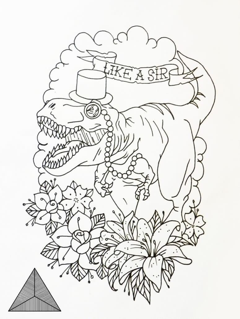 Crying dinosaur in hat surrounded with flowers and banner tattoo design