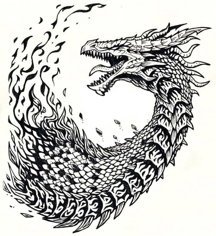 Crying Dragon Head With Long Neck Tattoo Design