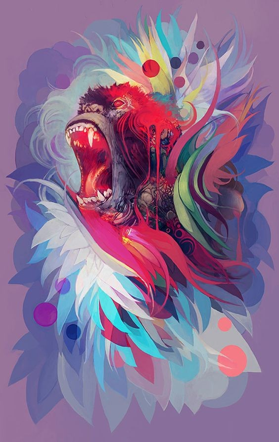 Crying gorilla in multicolor vortex tattoo design