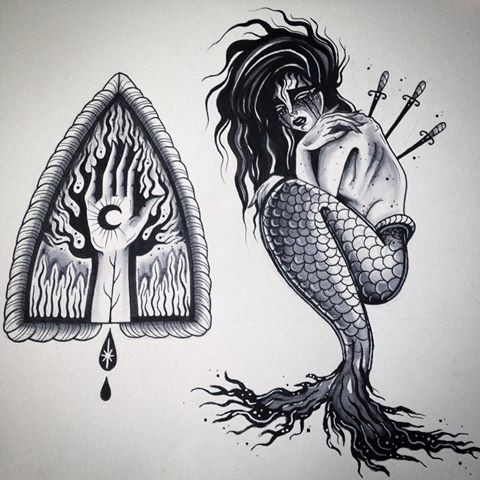 Crying mermaid killer with three daggers and sacred hand symbol tattoo design