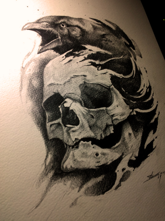 Crying raven and human skull tattoo design by Andrey Skull