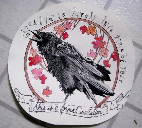 Crying raven surrounded with pink flowers and letterings tattoo design