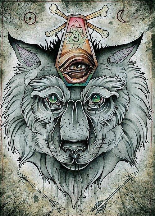 Crying wolf with a strange illuminati sign tattoo design